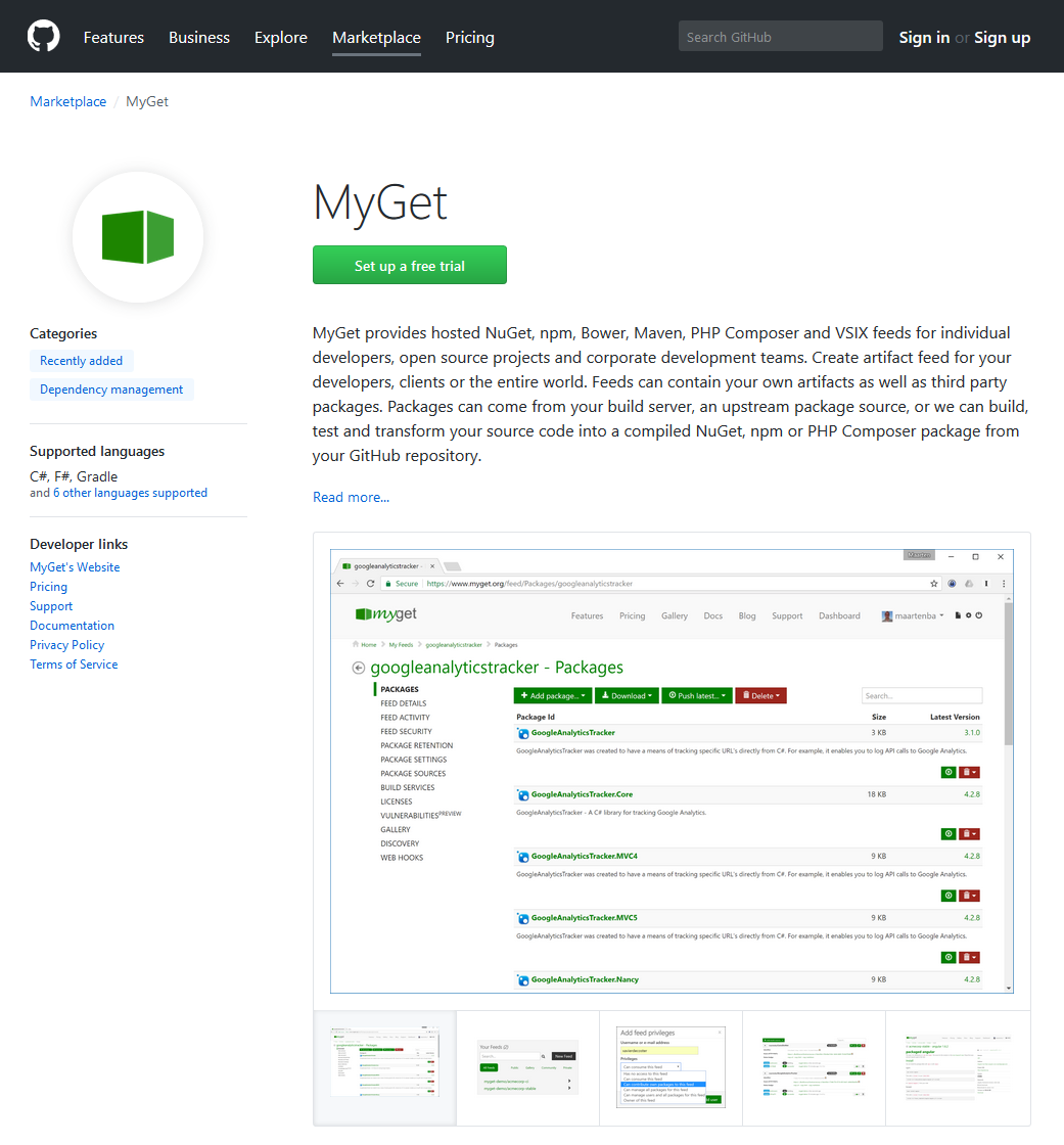 MyGet package management now available in the GitHub Marketplace!