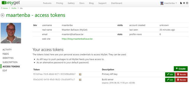 Manage MyGet API keys