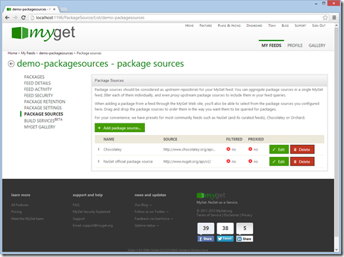 Package sources list