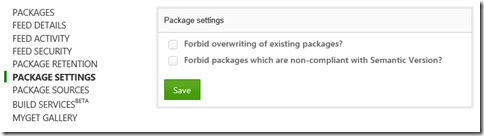 Package settings semantic version