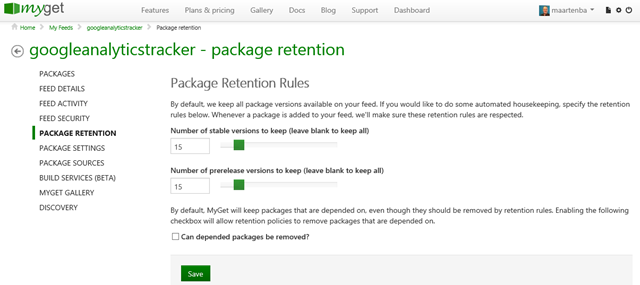 Package retention rules for a feed