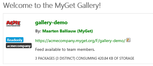 MyGet Gallery