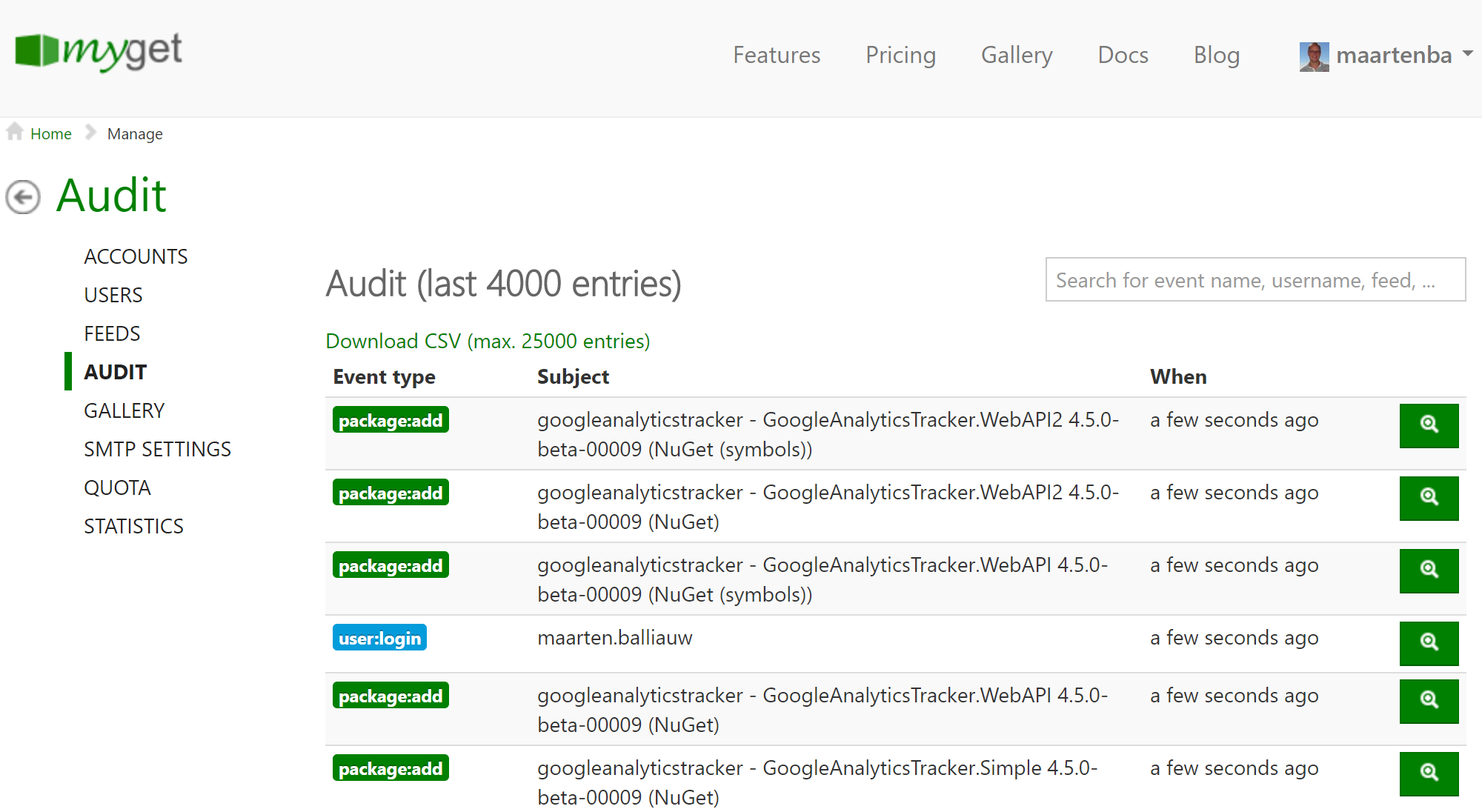 Inspecting audit logs in MyGet Enterprise