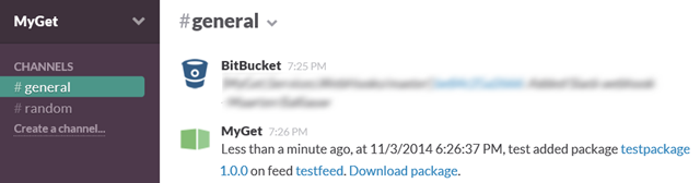 Slack integration with MyGet