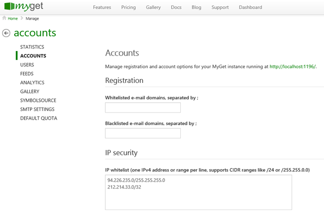IP whitelisting for MyGet Enterprise customers