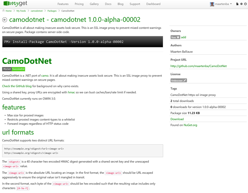 MyGet showing GitHub readme contents on package details page