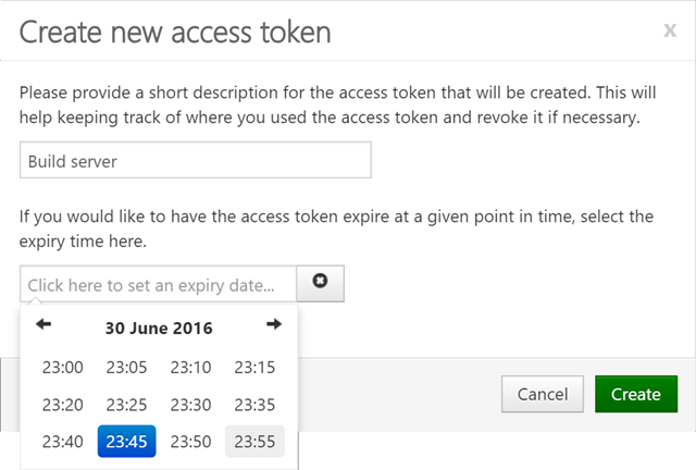 Create MyGet access key for accessing NuGet server
