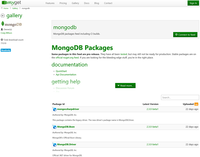 Using nightly builds for MongoDB