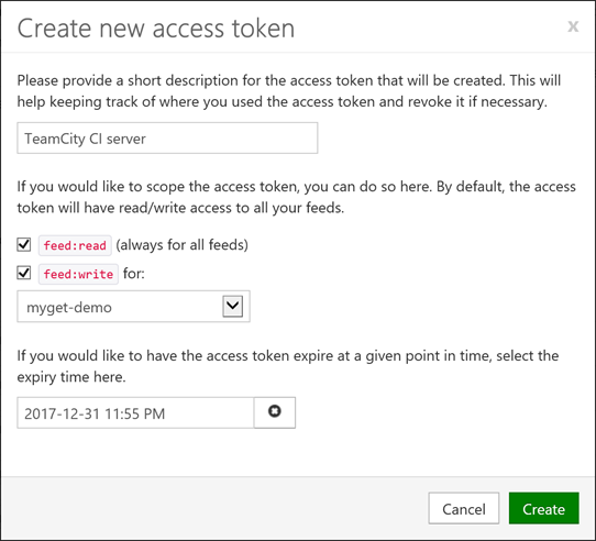 Create new access token scoped to a given feed