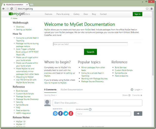 Documentation on how to use MyGet