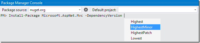 NuGet select dependency version resolution strategy